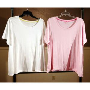2 Boden Women sz 18 pink white loose tshirt top
